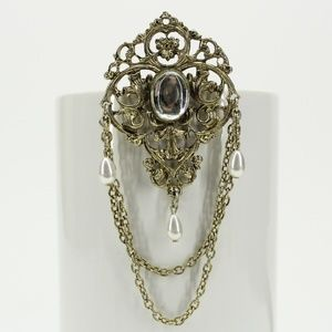 Vintage Gold Decorative Drop Chain Pearl Brooch